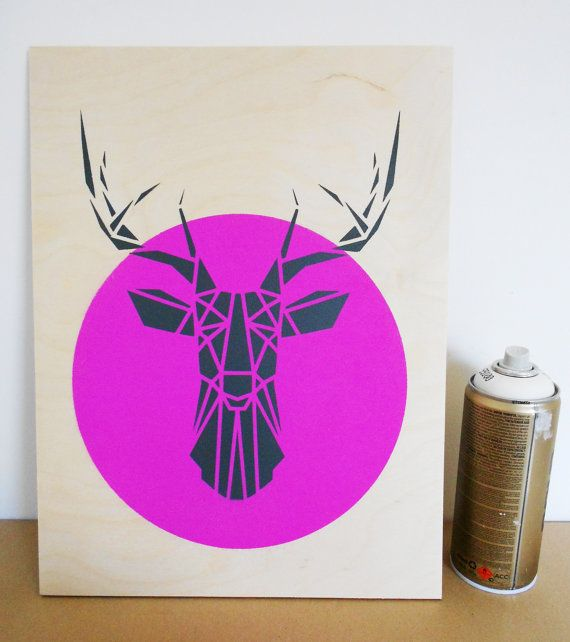 Stencil Art Deer Head on Plywood Origami Deer by Stencilize