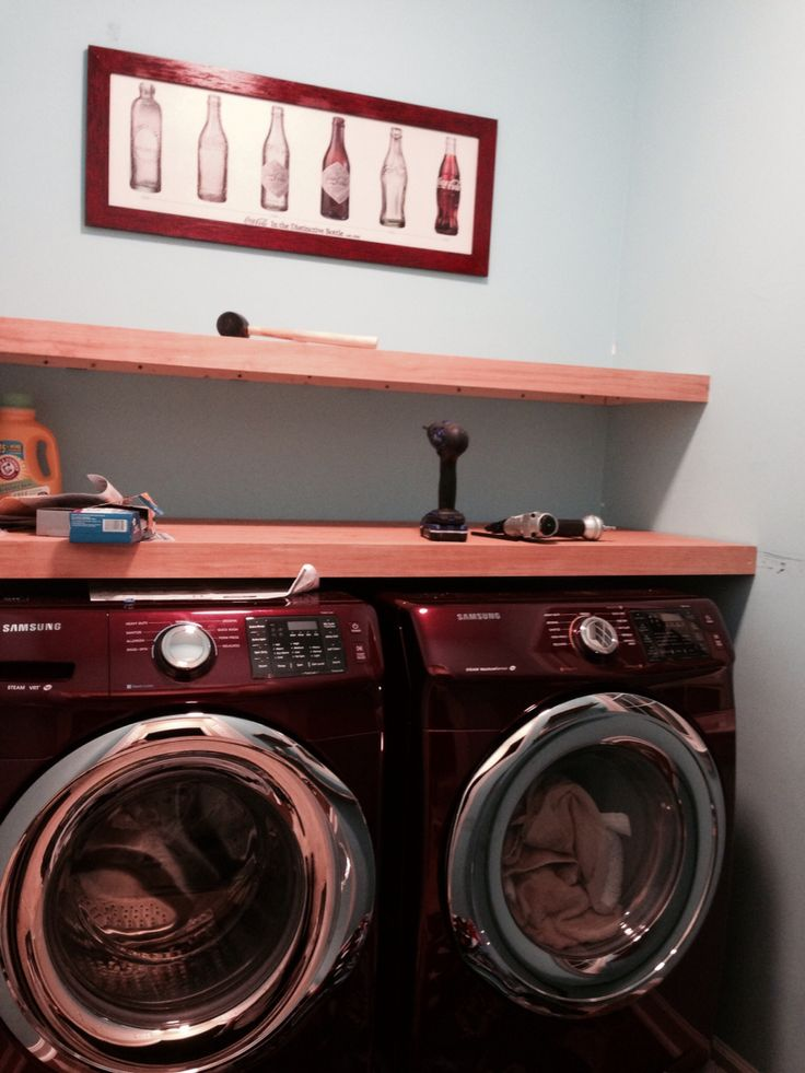 mid red merlot samsung front load washer and dryer wood shelves with minwax polyshades