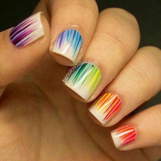 Rainbow grass nails