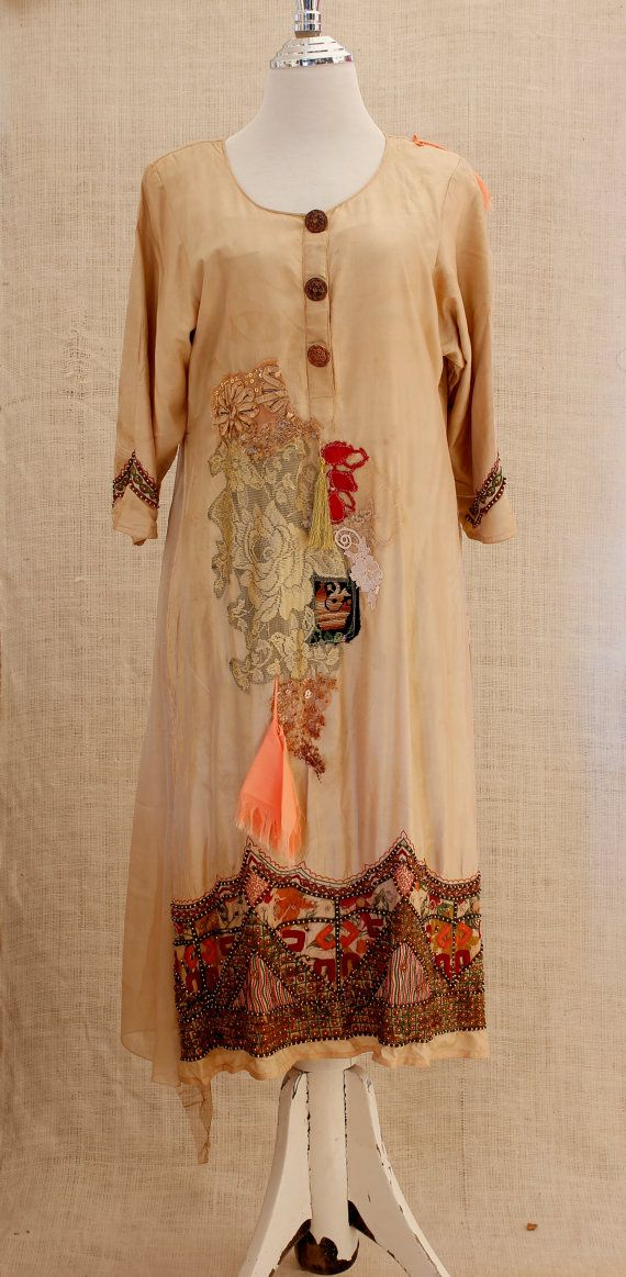 Galabia Camel Kaftan dress embroidered midi dress Hippie