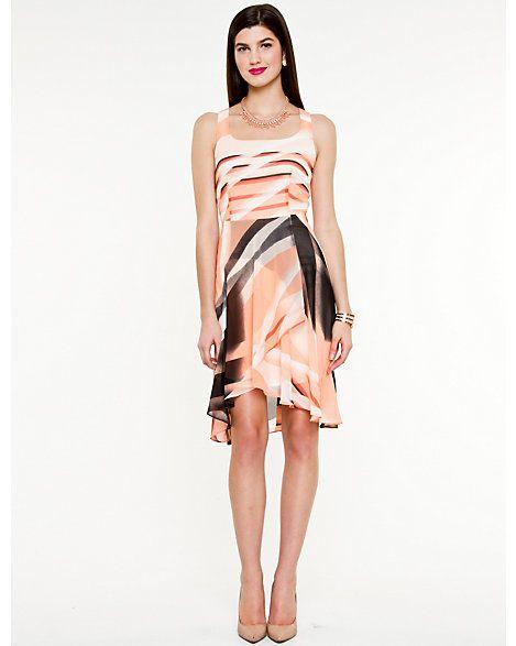 Abstract Print High-Low Hem Dress