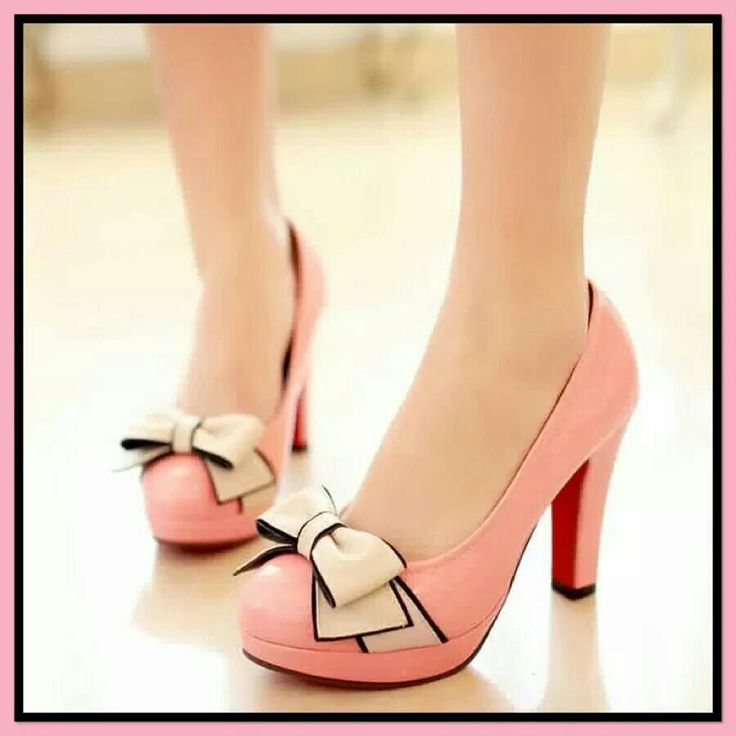 Pink with a bow high heels