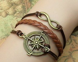 Vintage Antique Bronze Compass & Infinity Wish Bracelet Brown Ropes Braided Personalized Charm Jewelry Friendship Gift 1187r Retro Bracelet. $14.50