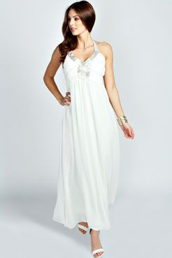 Gloria Emblished Front Woven Maxi Dress