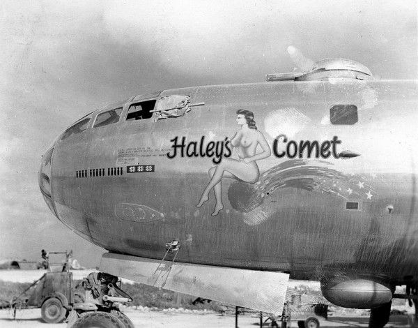 Pinup visible here on the nose of a Boeing B-29 Superfortress belonging to the US Air Force 20th in 1945.