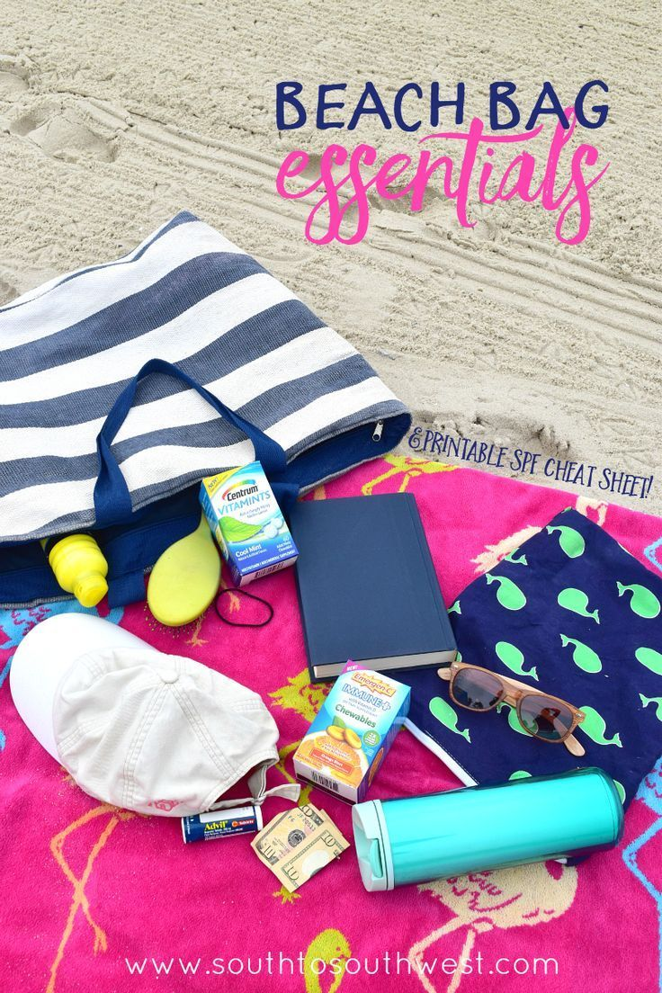 Here are this Florida Girl's Beach Bag Essentials (and a Free Printable SPF Cheat Sheet!) from South to Southwest Blog