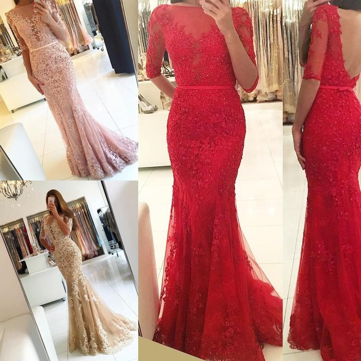 Hot 2016 Lace Appliques Mermaid Prom Dresses Half Sleeve Backless Sheer Bateau Neck Sweep Train Tulle Formal Evening Gowns Party Dress Prom Dress Patterns Prom Dress Shops Uk From Dmronline, $146.54| Dhgate.Com