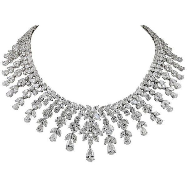 Modern Platinum Diamond Necklace ($640,160) ❤ liked on Polyvore featuring jewelry, necklaces, luxurious, graduation necklace, platinum jewellery, graduation jewelry, diamond jewelry and diamond jewellery