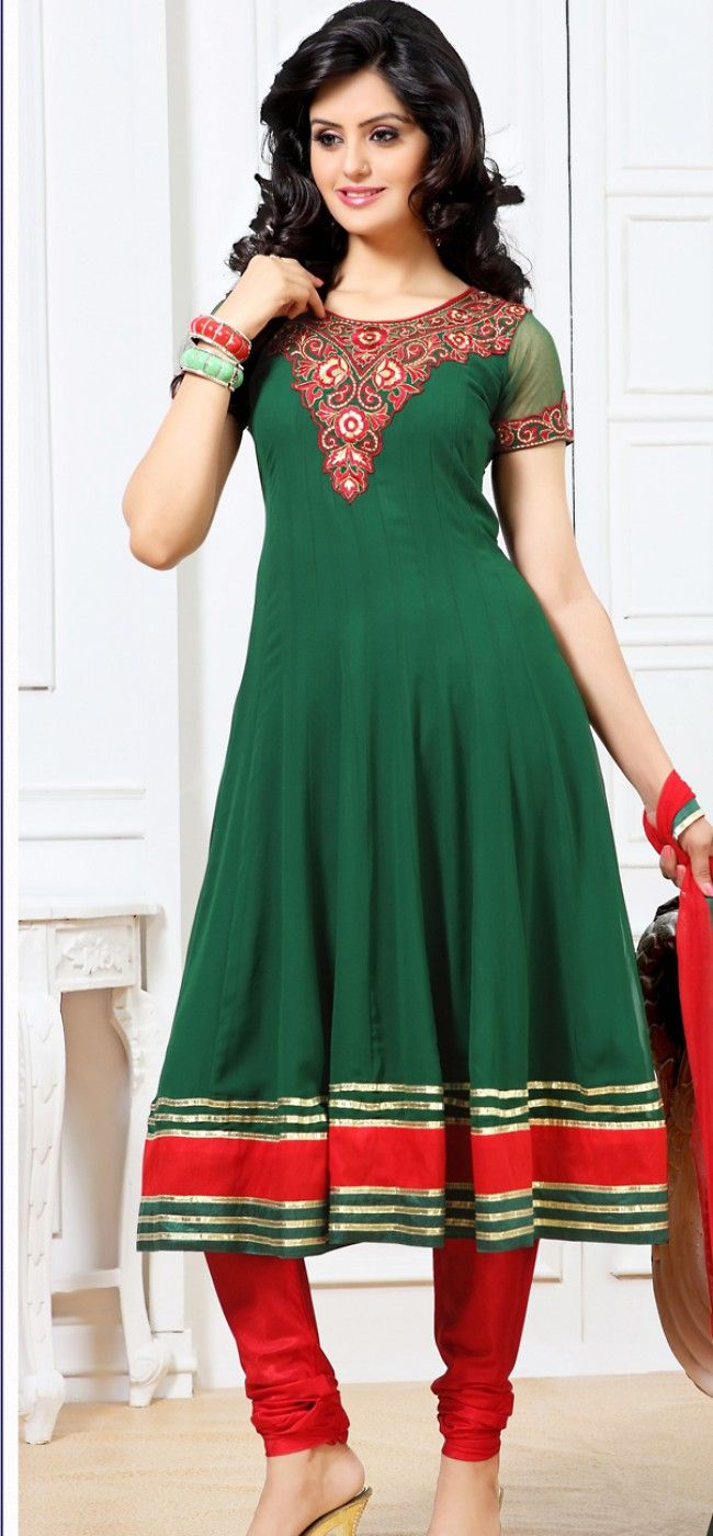 Bottle green and red anarkali churidar: KSL2480