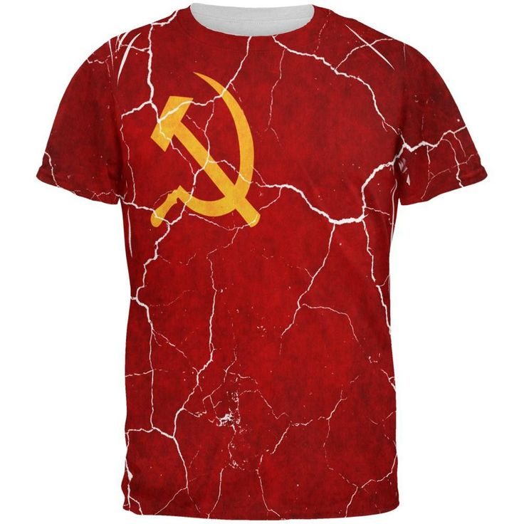 Distressed Soviet Union Flag All Over Mens T Shirt