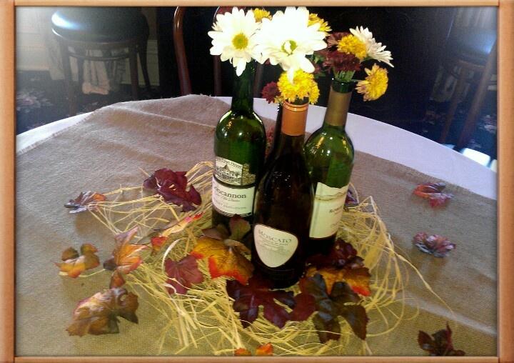 Fall Wedding Centerpieces -- great use of wine bottles! start saving!