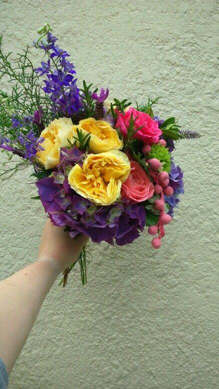 Flowers and pom poms