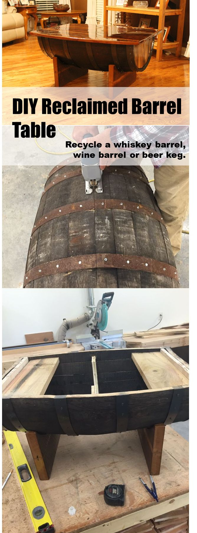 Perfect weekend project to recycle and old whiskey or wine barrel into a coffee table.
