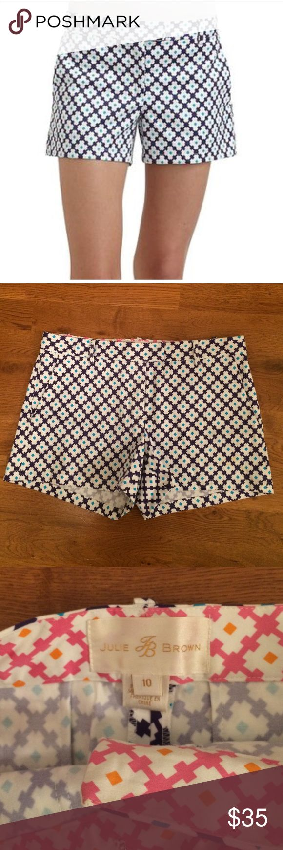 Julie Brown Shorts Julie Brown Shorts turquoise and ivory mosaic pattern                                                                            - Size: 10                                                                          - 97% Cotton and 3% Spandex                                         - Low waist   Belt Loops                                                   - NWOT - No stains, rips, holes, pilts, etc Julie Brown Shorts