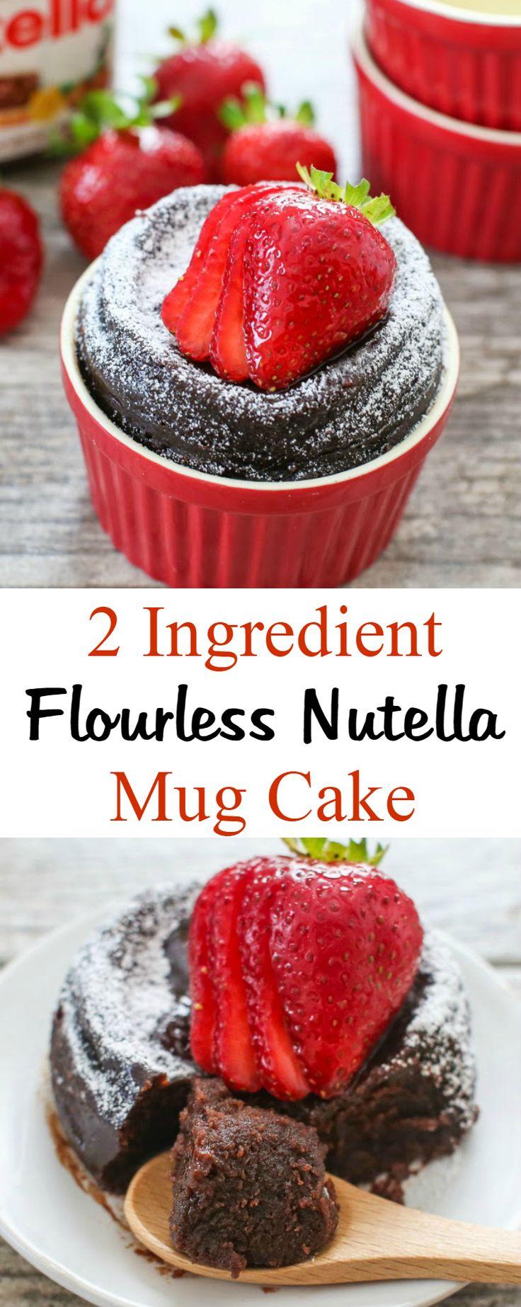 2 Ingredient Flourless Nutella Mug Cake. Prep time is less than 5 minutes!