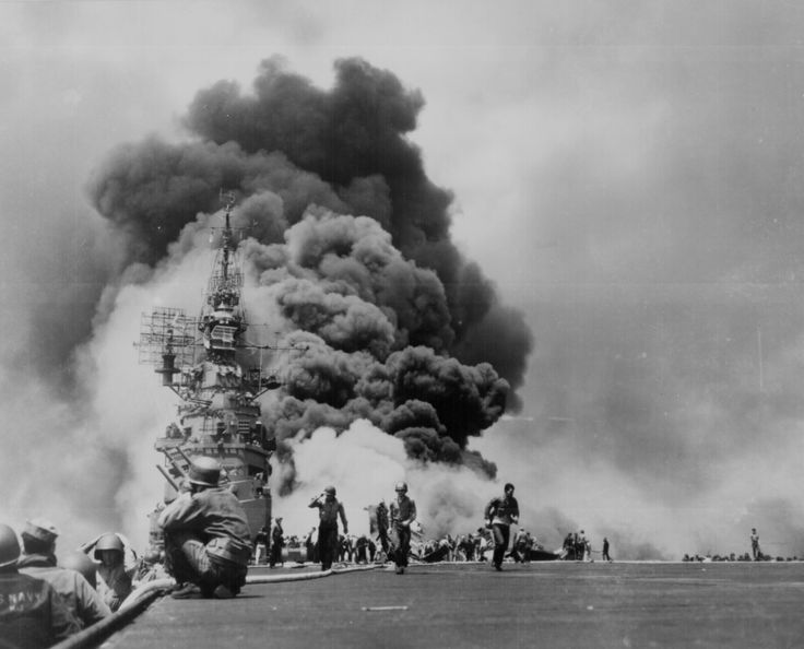 """USS BUNKER HILL hit by two Kamikazes in 30 seconds on 11 May 1945 off Kyushu."