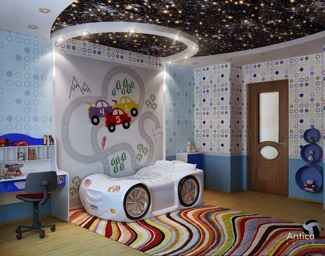 Stretch Ceilings For Modern Kids Room, Stretch Ceiling Starry Sky In Black
