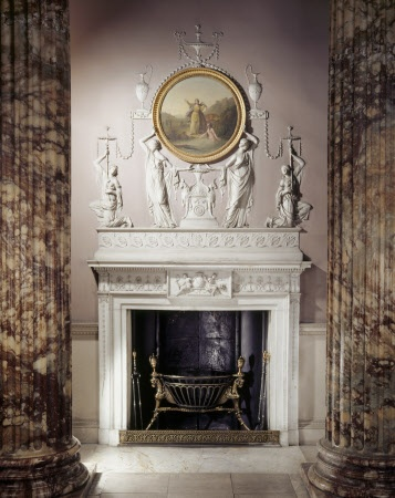 View of the fireplace in the Marble Hall at Kedleston Hall. The painting is Diana and Arethusa after Hubert Gravelot, attributed to William Hamilton (1751-1801).