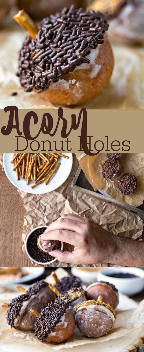 Acorn Donut Holes are a fun fall breakfast recipe! Perfect treat for Thanksgiving or Christmas. #ad