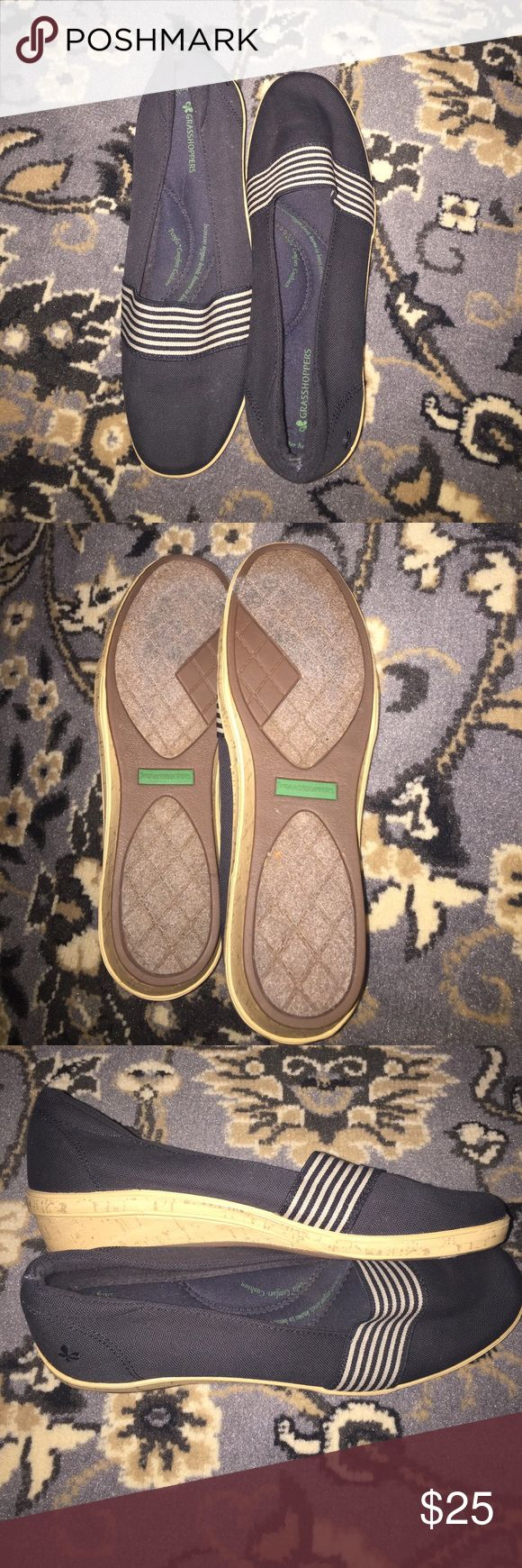 "Grasshoppers wedge loafers EUC loafers by Grasshoppers with small wedge heel (approx 1""). You cannot tell these have worn at all! They have black and cream stripe detail and so much cushion inside! Size 9. Grasshoppers  Shoes Flats & Loafers"