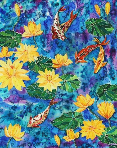 Win Jagger, Original Silk Painting, Koi I | Scottish Contemporary Art