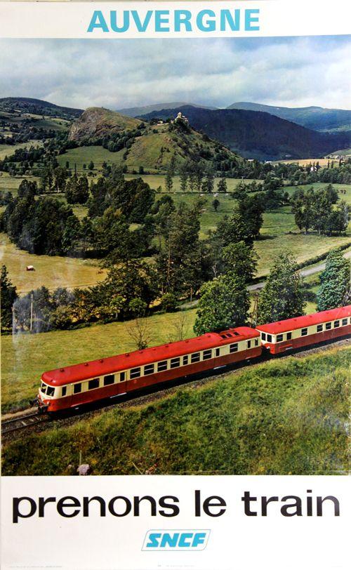 Vintage Railway Travel Poster - Auvergne - France - 1974 - photo de Mazo.
