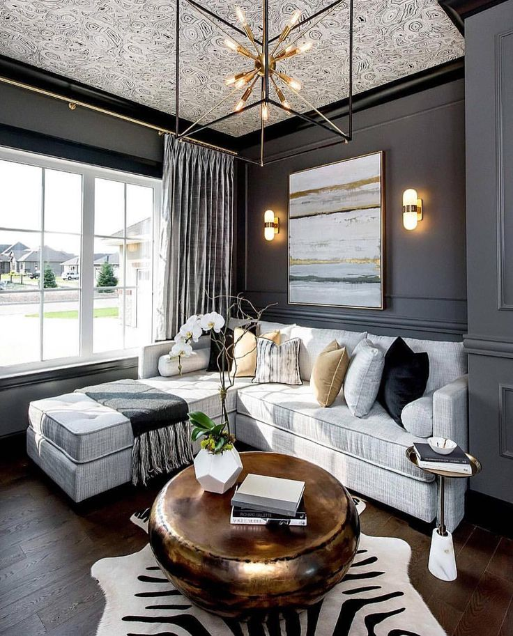 Dark walls and gold fixtures . By Metrie Click like or share.