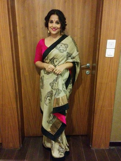 Vidya Balan in a handpainted kalamkari saree on tussar silk - MinMit Clothing