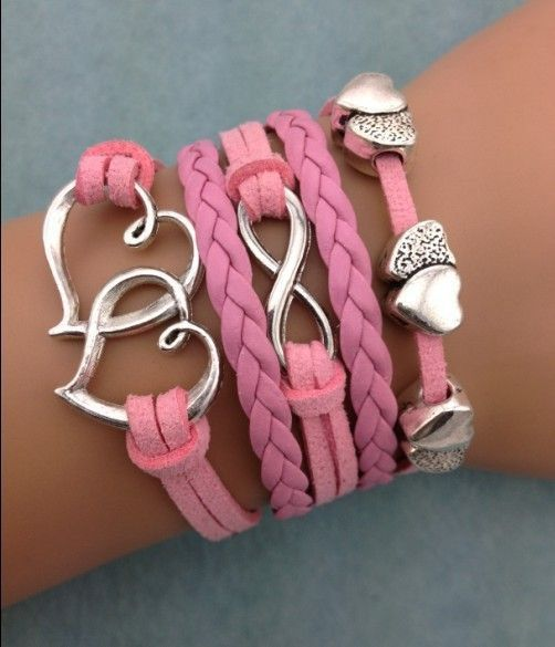 Body Decorator | Floating Hearts with Infinity & Double Big Heart Fashion Bracelet.
