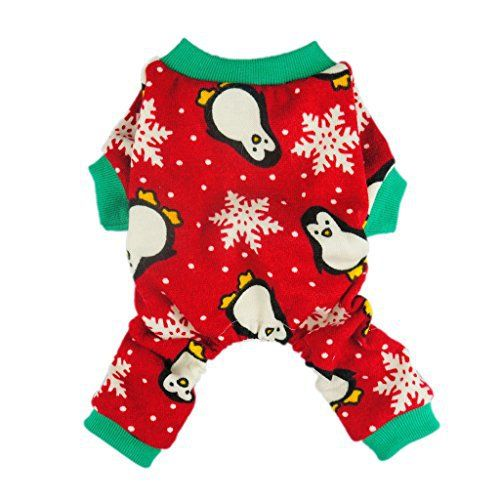 Fitwarm Cute Penguin Xmas Pet Clothes for Dog Pajamas Soft Christmas PJS, Red, XXL - http://www.thepuppy.org/fitwarm-cute-penguin-xmas-pet-clothes-for-dog-pajamas-soft-christmas-pjs-red-xxl/