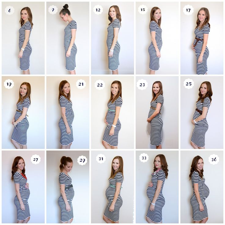 Cute pregnancy photo documentation - striped dress emphasizes the bump, consistent backgound but varying poses / accessories | Merrick's Art