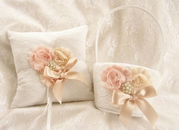 Flower Girl Basket and Ring Bearer Pillow Vintage #weddings #decoration @EtsyMktgTool http://etsy.me/2fl5veb