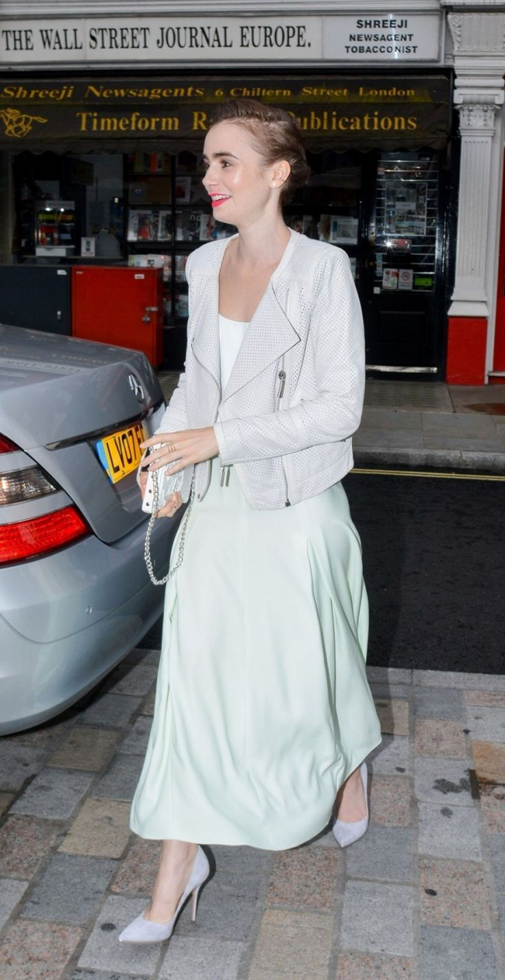 """  Lily Collins arrives at the Chiltern Firehouse in London July 12 x """