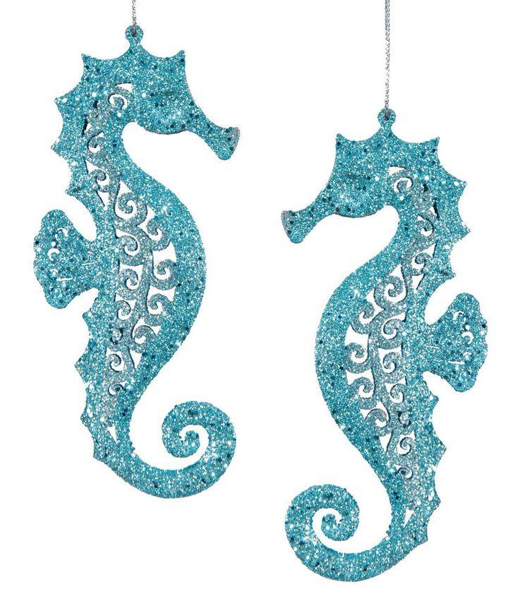 Teal Blue Glittery Coastal Seahorses Tropical Christmas Ornaments Set of 2