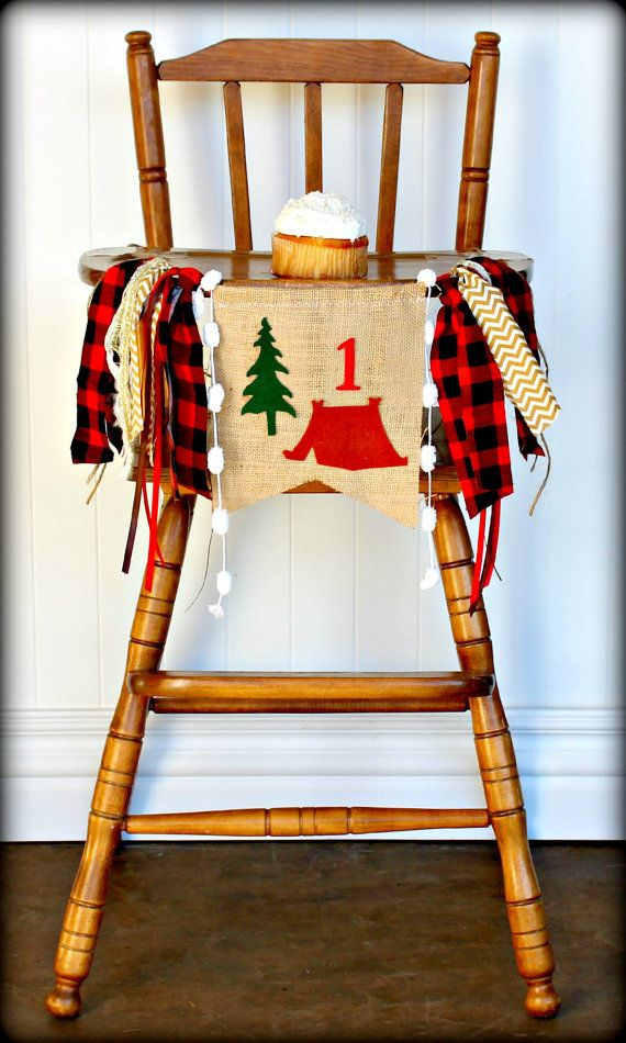 Bold buffalo plaid and rustic burlap make up this unique highchair banner. Can be made for any age & used as a high chair banner or wall