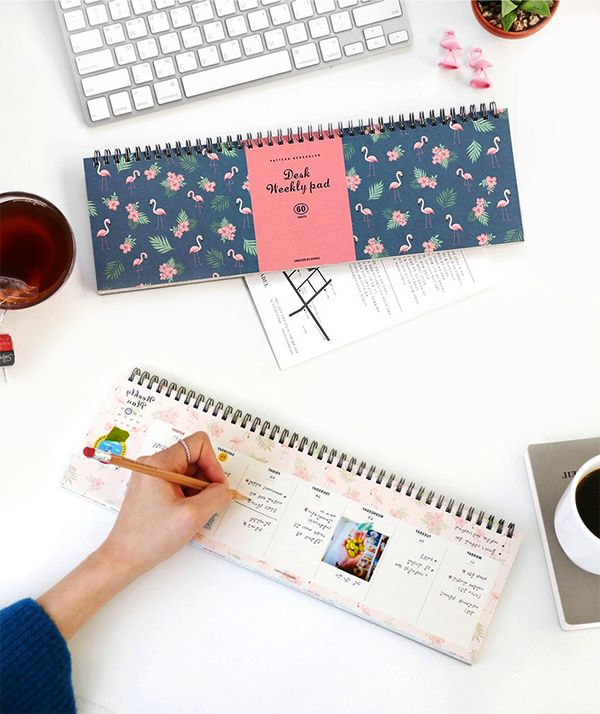 Make your life more organized and turn your desk...BEAUTIFUL! Enjoy the 12 lovely illustrated patterns which alternate by every 5 weeks! It means you can plan your 60 weeks with this adorable scheduler! There is spacious memo area at back of each page for writing notes, adding photos and simply showing off your creativity! Here's another cool feature! A detachable plastic cover is included for diving the scheduler into sections and protecting the scheduler. Meet this ingenious scheduler!