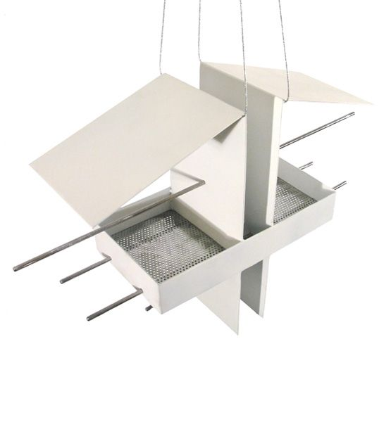 Drive-Through  Taking a page from modern, minimalist home design, shop owner Joe Papendick crafted a duplex birdfeeder with accompanying stainless steel perches.