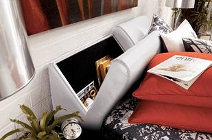 An Upholstered Storage Headboard | 33 Insanely Clever Things Your Small Apartment Needs