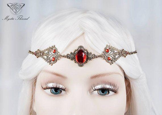 Ruby gem elven circlet-fairy circlet-elf circlet-elven headdress by MysticThreadDesigns