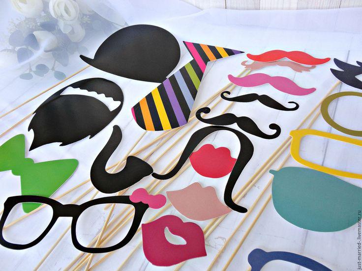 Купить Фотобутафория - комбинированный, фотобутафория, бутафория для фото, усы для фото, губы для фото, губы на палочке