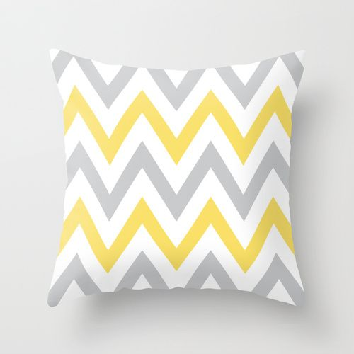 Gray Yellow Chevron Throw Pillow By Daniellebourland Society6 For The Home Pinterest Bedroom Pillows And