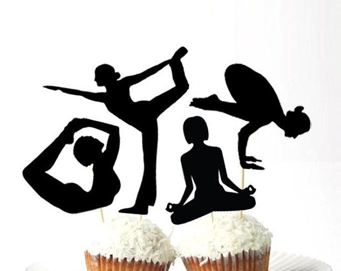 Solid Yoga Cupcake Toppers Set Of 12 3d Printed Plastic Mindfulness Party Decorations Namaste Party Birthday Yoga Party Yoga Decor Yoga Baby Shower