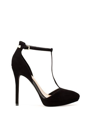 High heel platform court shoes with T bar from Stradivarius 2014