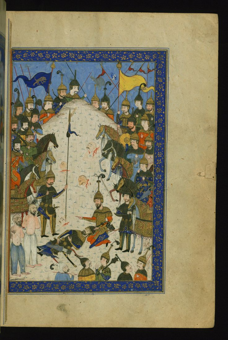 Iskendernāme - This is the right side of a double-page illustrated frontispiece depicting Alexander the Great (Iskender) at the side of Darius (Dārā), the killed Persian king.