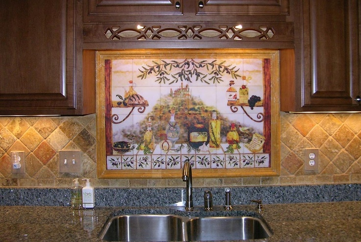 17 best images about kitchen remodels on pinterest wine for Backsplash tile mural