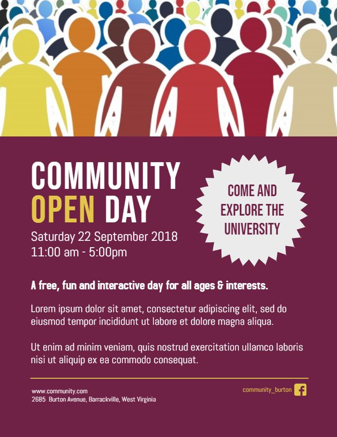 Community Open Day Event Posterflyer Template Family And