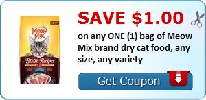 New Coupon!  Save $1.00 on any ONE (1) bag of Meow Mix brand dry cat food, any size, any variety - http://www.stacyssavings.com/new-coupon-save-1-00-on-any-one-1-bag-of-meow-mix-brand-dry-cat-food-any-size-any-variety/