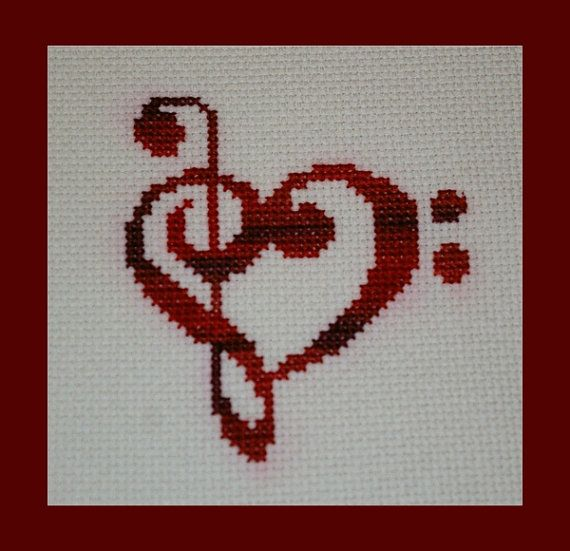Treble and Bass Clef Heart Cross Stitch Pattern, Valentines Music Pattern, Musical Heart Cross Stitch Design