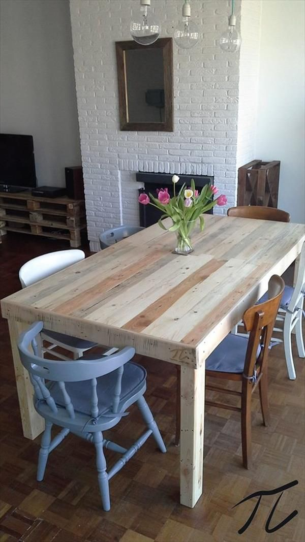 Best 25 pallet dining tables ideas on pinterest palet table wooden pallet - Table a manger palette ...