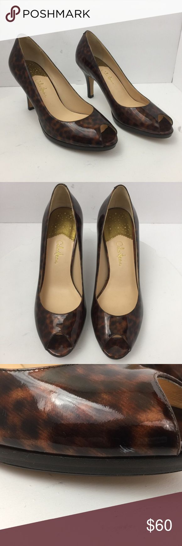 Cole Haan Air Leopard Print Women's Heels Pumps Cole Haan Air Leopard Print Women's Heels Pumps Peep Toe Dress Shoes Size 8B. See pics for Condition. Heel measures 3 1/2 inches. Cole Haan Shoes Heels
